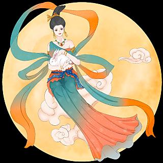 中秋节人物插画-嫦娥玉兔
