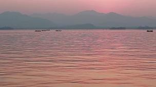 杭州西湖的天际线和日落