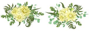 大丽花属,蕨类,黄色,秋天,花束,菊花,白色,请柬,布置,问候