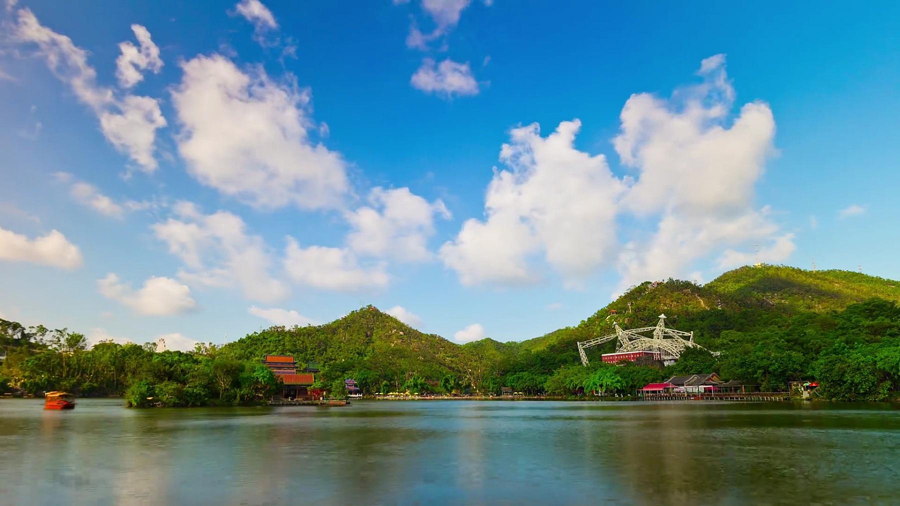 中国晴天珠海市著名公园湖山全景 延时