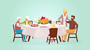 家庭,白昼,晚餐,秋天,矢量,祖父母,火鸡,节日,绘画插图,卡通