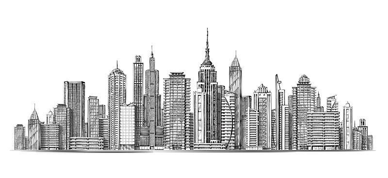 建筑,城市,现代,全景,建筑外部,草图,分离着色,白色,商务,概念
