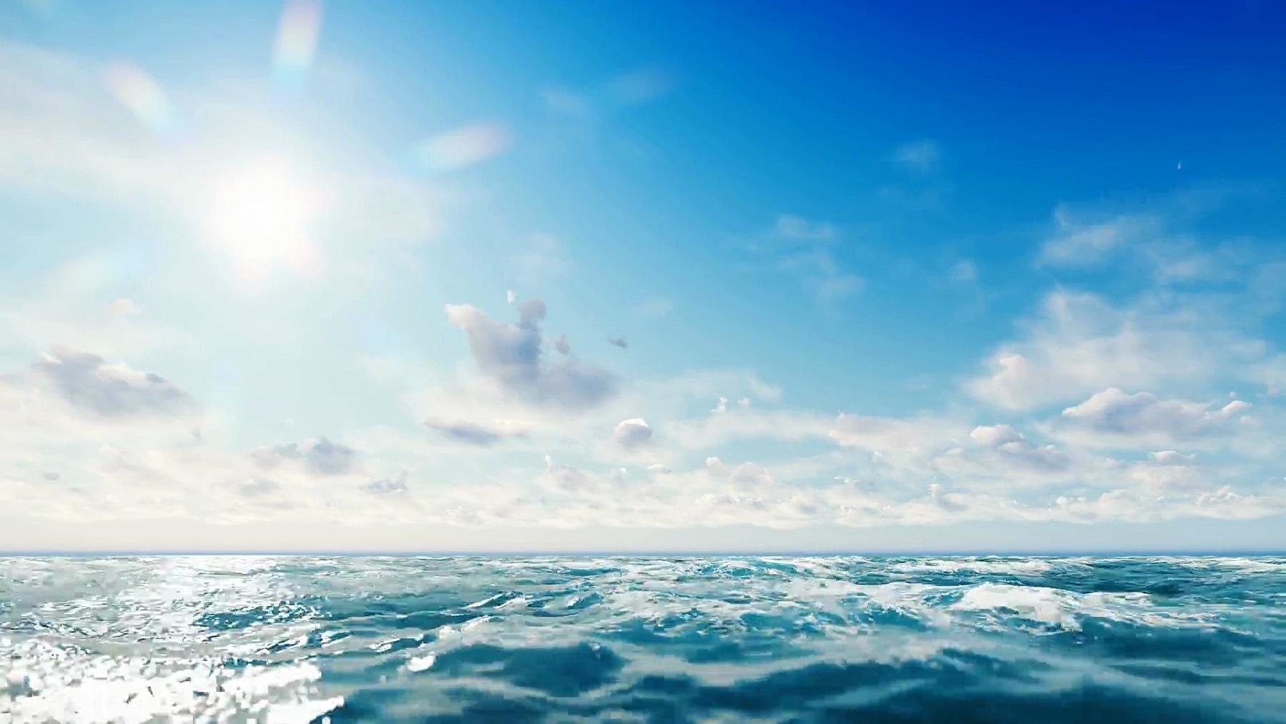 海景。海里阳光灿烂的一天