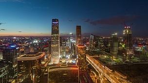 延时-北京CBD和CCTV大楼,夜间(WS HA Panning)
