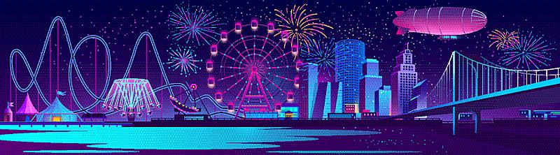 城市,夜晚,概念,背景聚焦,公园,地平线,焰火,暗色,传统节日,模板