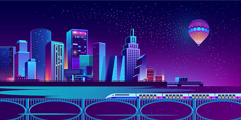 城市,夜晚,霓虹灯,背景聚焦,未来,摩天大楼,河流,全景,图像,地平线