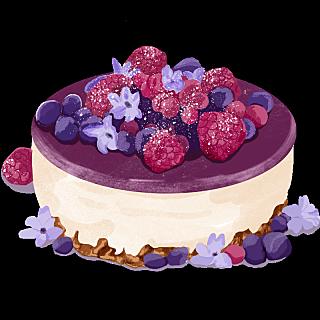 手绘风甜品美食插画-蛋糕