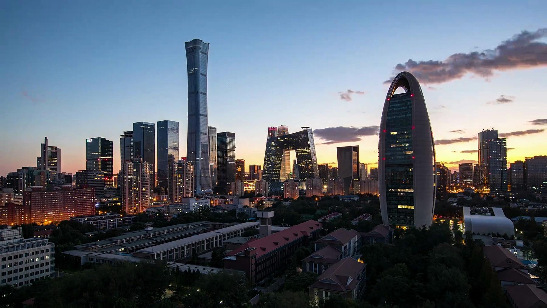 延时摄影-北京黄昏的天际线