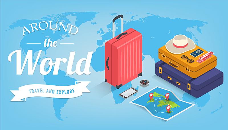 设备用品,高雅,矢量,旅行者,夏天,三维图形,概念,旅途,旅行,旅游