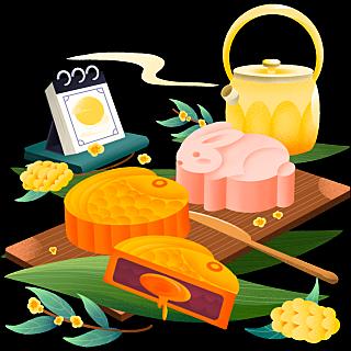 中秋节手绘美食主题插画-月饼