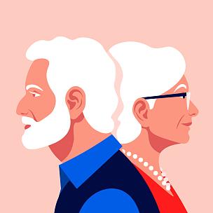 家庭,古老的,老年伴侣,老年男人,背景分离,浪漫,肖像,技术,女人,便携式信息设备