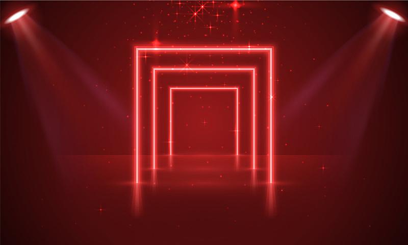 指挥台,景象,光,霓虹灯,红色背景,窗帘,底座,舞台,表演,复古