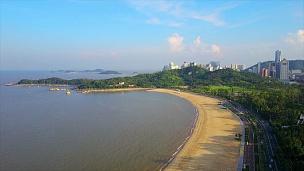 日间珠海城市风光著名的渔女纪念碑海湾空中俯瞰 中国