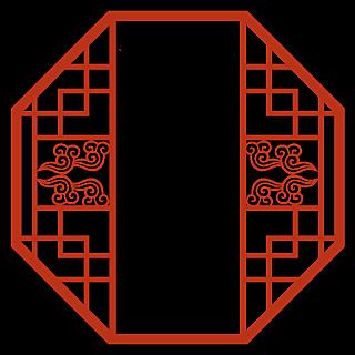 中国风边框底纹矢量贴纸-窗户