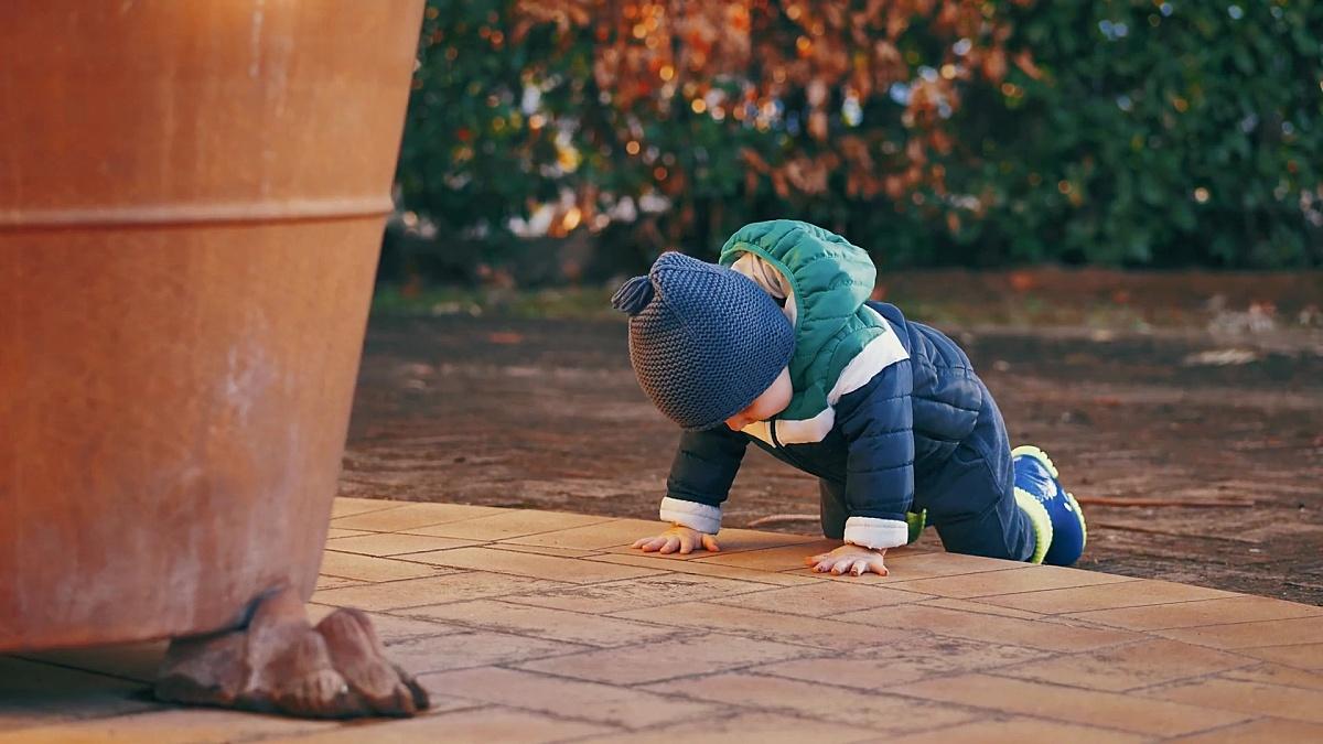 秋天的一天,蹒跚学步的男孩在花园里玩耍。慢动作拍摄