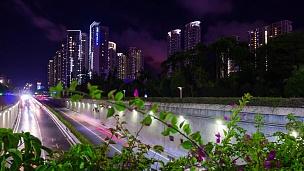 中国夜光珠海市交通公路隧道全景 延时