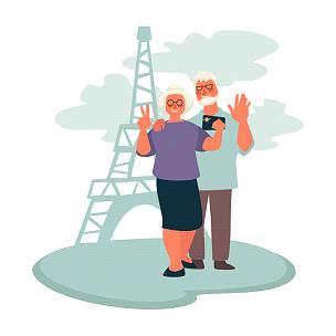 巴黎,老年伴侣,旅游目的地,祖父母,老年人,节日,蜜月,旅行,旅游,休闲