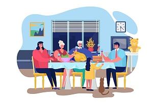 家庭,幸福,公寓,晚餐,矢量,绘画插图,卡通,人,相伴,庆祝