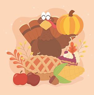 蛋糕,玉米,橡树果,火鸡,幸福,苹果,传统,蔬菜,请柬,葡萄酒