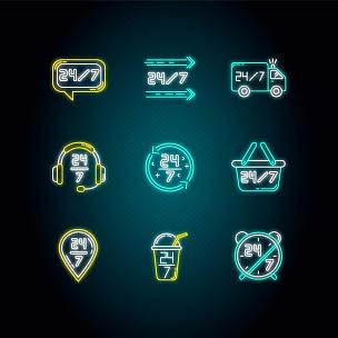 计算机图标,矢量,霓虹灯,钟面,绘画插图,数字7,标志,永远,彩色图片,it技术支持