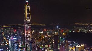 中国夜景深圳市区KK100大厦空中全景 时间间隔