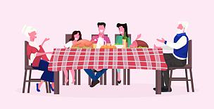 儿童,全身像,晚餐,概念,水平画幅,祖父母,庆祝,度假,讨论
