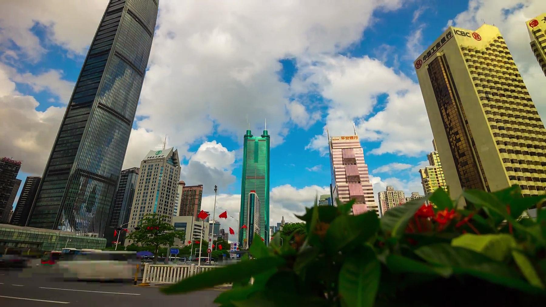 深圳市区KK100交通街景全景  timelapse China