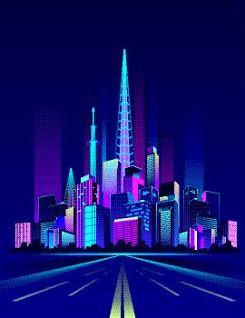 夜晚,城市,霓虹灯,矢量,摩天大楼,房屋,粉色,城镇,全景,图像