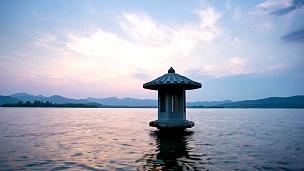 杭州西湖日落景观,延时摄影