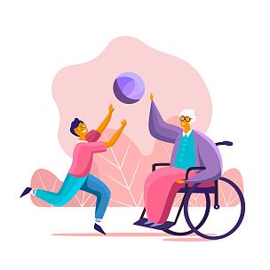 球,孙辈,进行中,乐趣,轮椅,祖母,肢体缺损,老年人,爱的,支撑