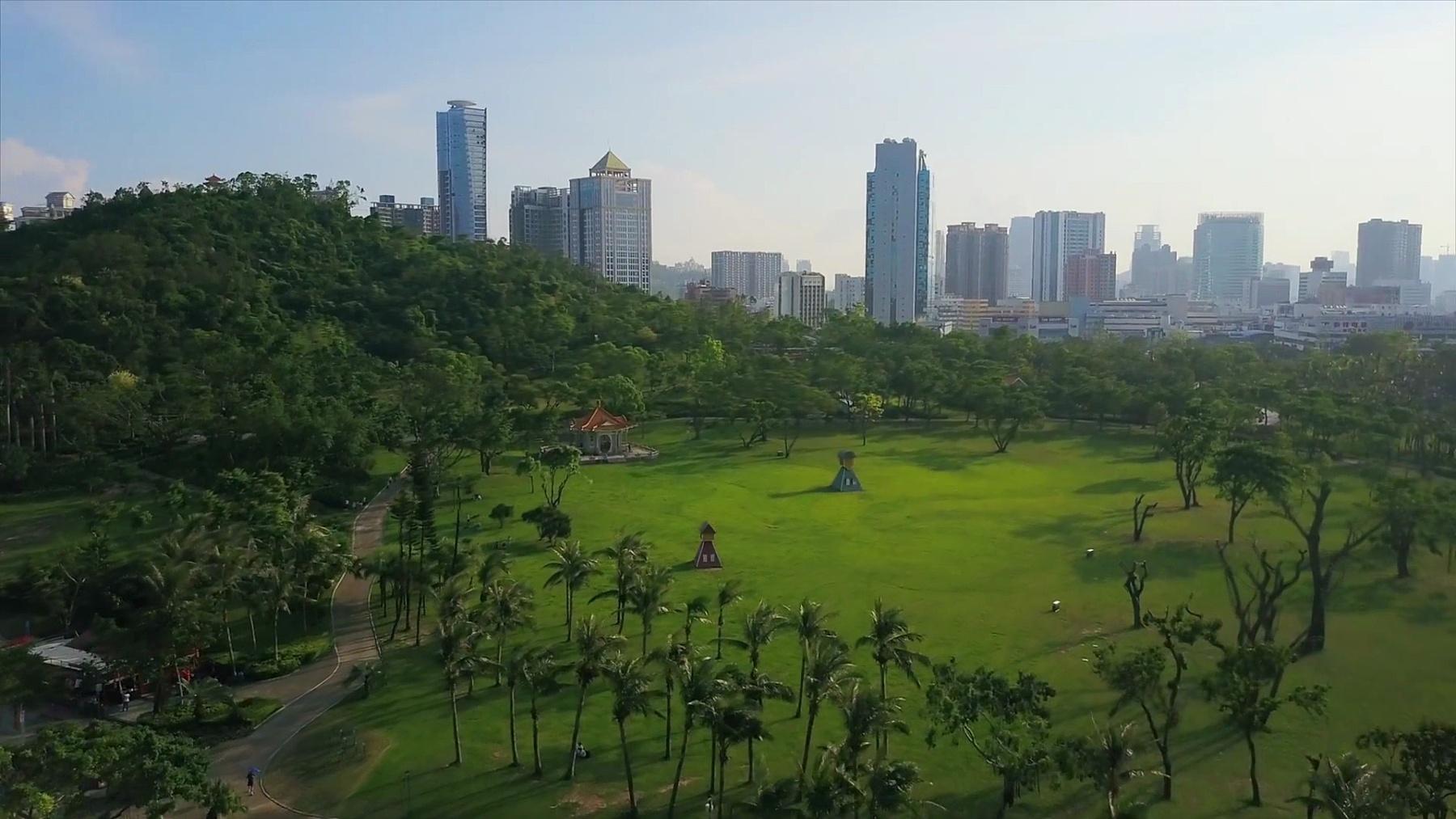 晴天珠海市著名景山公园城市景观航空全景 中国