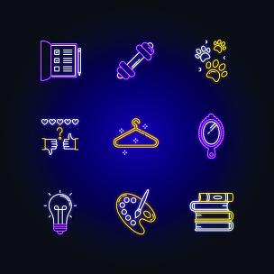 标志,计算机图标,霓虹灯,生活方式,运动,休闲活动,宠物,业余爱好,爪子,矢量
