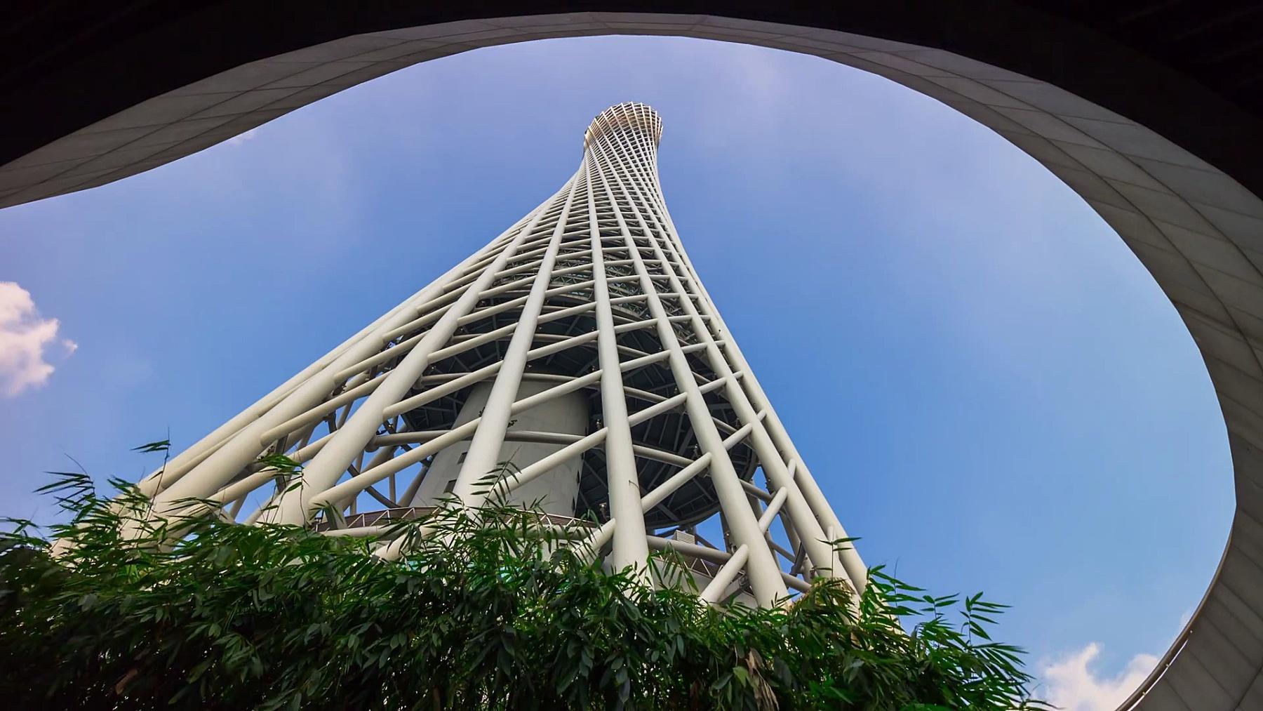晴天广州市著名广东塔俯瞰全景 延时摄影中国