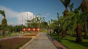 晴天珠海市著名公园胡同步行全景 中国