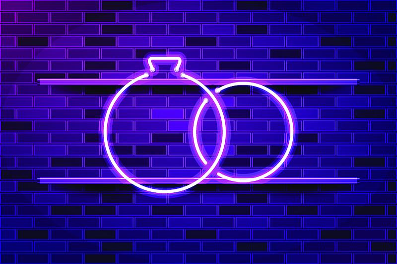 矢量,绘画插图,戒指,婚礼,霓虹灯,紫色,荧光灯,发光二级管,蜜月,商业广告标志