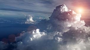 飞机上的日落天空
