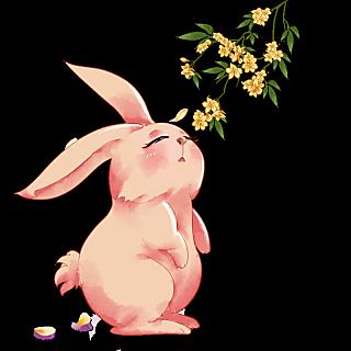 中秋节水彩风中国风插画-桂花兔子