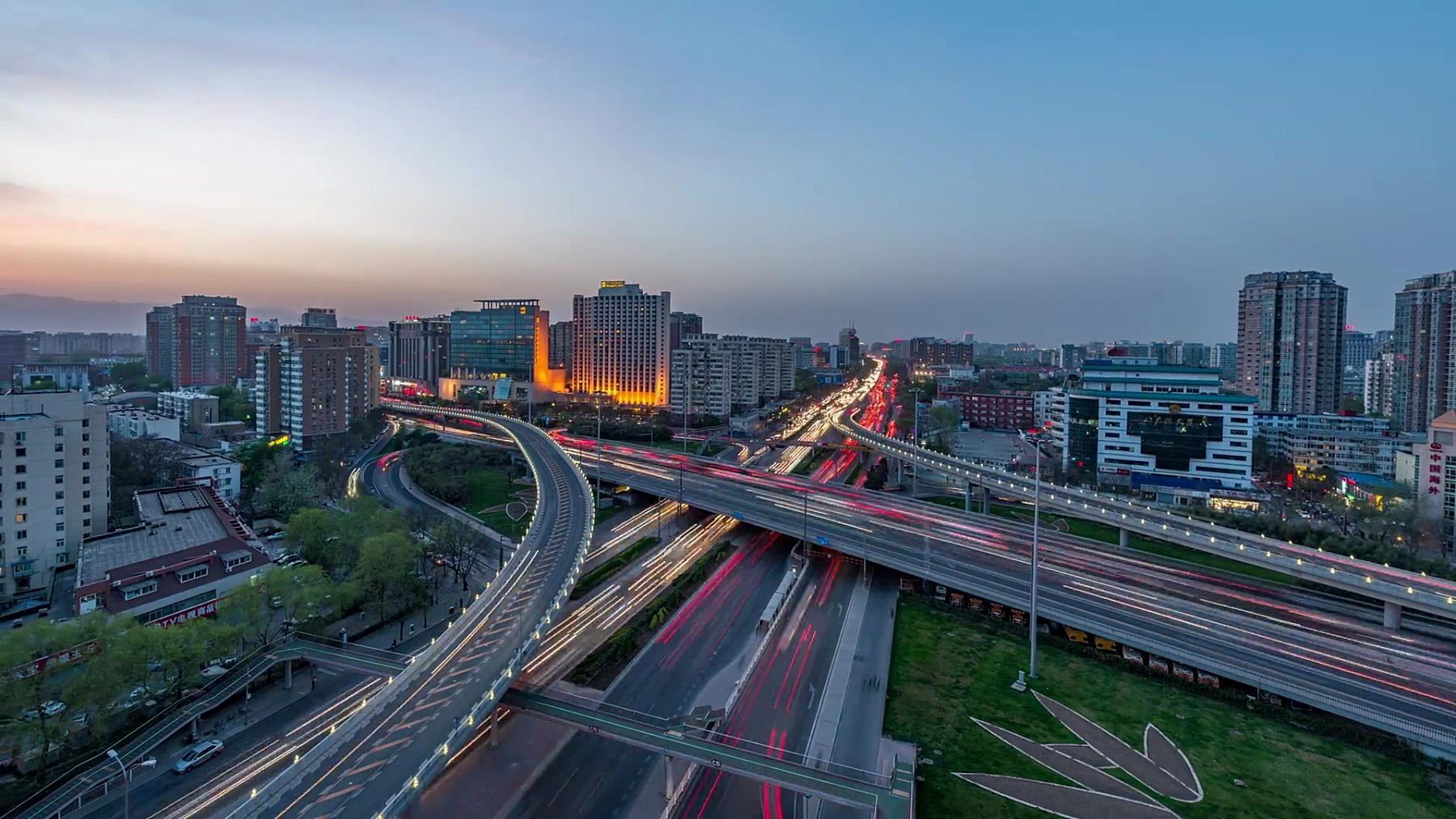 延时摄影-北京路交叉口鸟瞰,日夜转换(WS RL Pan)