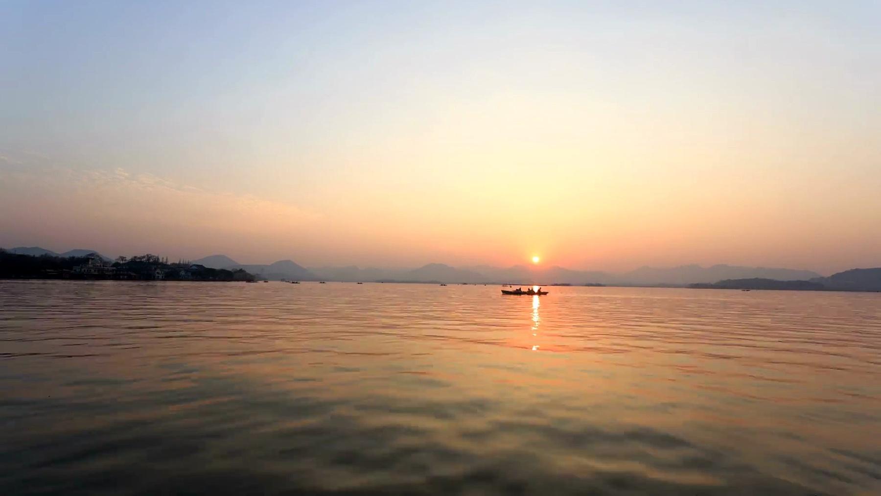 杭州西湖的天际线和日落,时光流逝