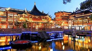 中国古代豫园,延时摄影。
