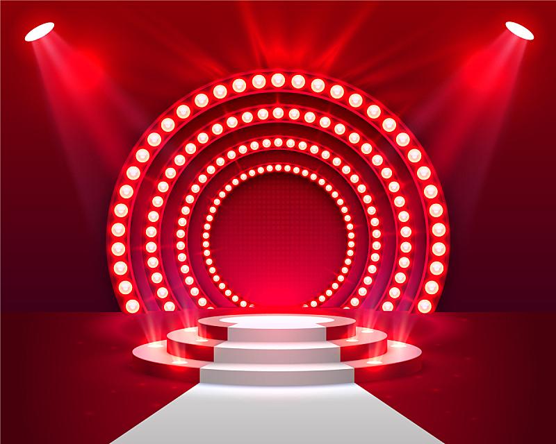 舞台,指挥台,景象,颁奖典礼,三维图形,图像,圆形,红色,商务