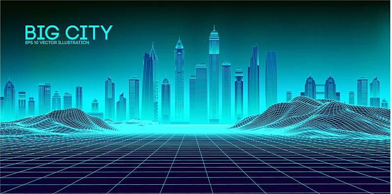 未来,地形,背景,80年代风格,城市,格子,音乐,抽象,夜晚