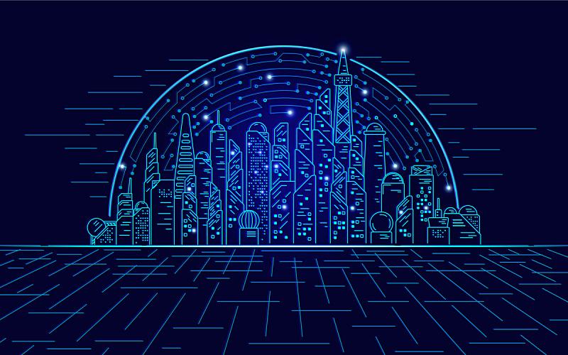城市,未来,互动电视,创造力,计算机,技术,网络空间,现代,全息图,建筑