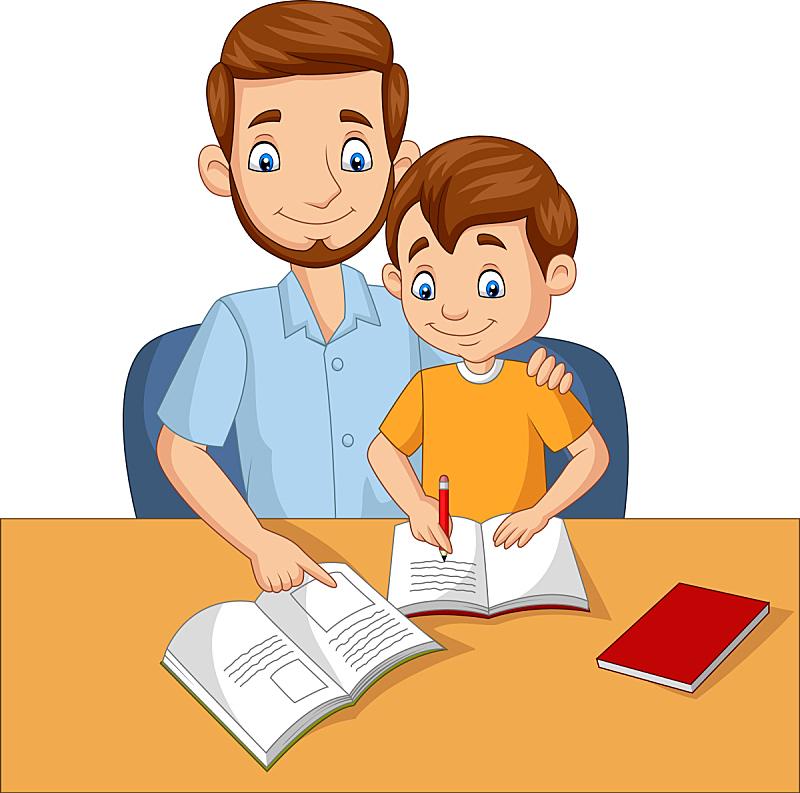 父亲,儿子,家庭作业,可爱的,家庭,父母,协助,学习,坐,爱