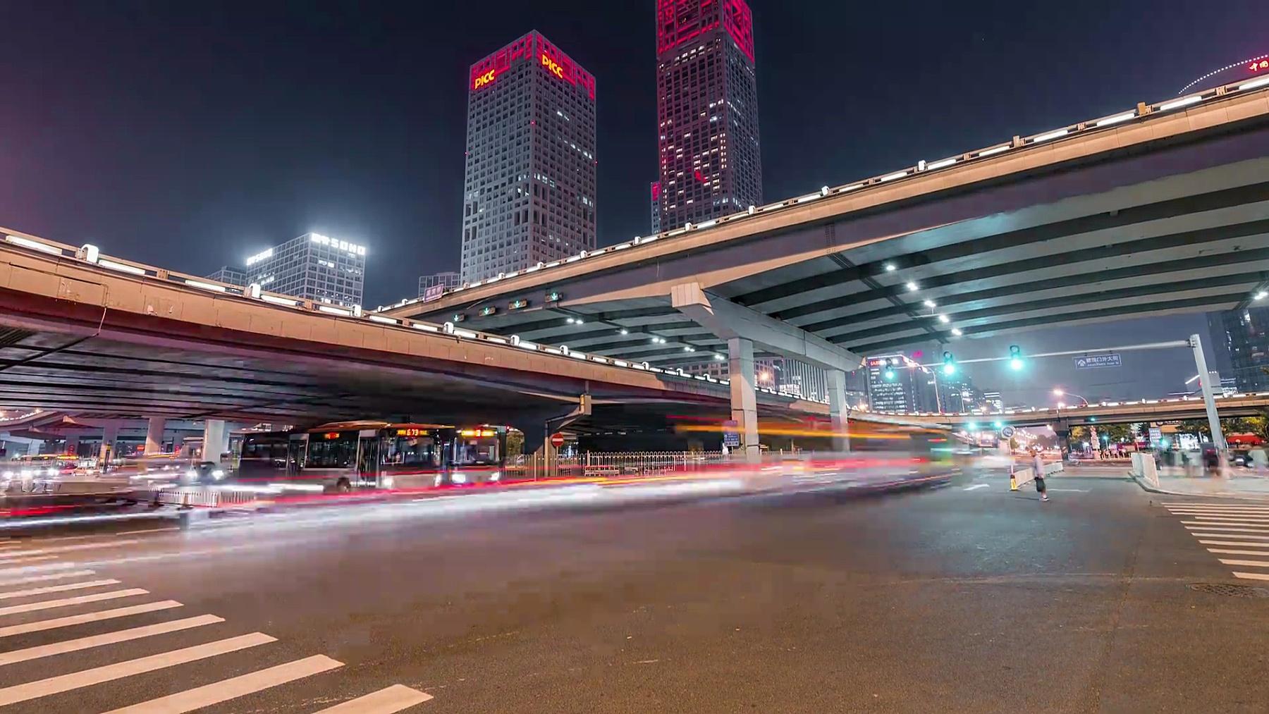T/L WS LA夜间北京CBD区域全景