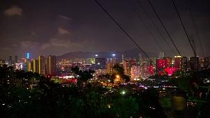 中国之夜珠海名山公园顶城市景观航空全景  timelapse