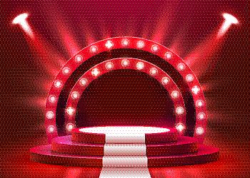 白色,圆形,抽象,指挥台,地毯,舞台,红色,奖,发光,照亮