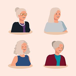 性格,老年女人,人群,头像,多代家庭,祖母,人,高雅,古老的,设计