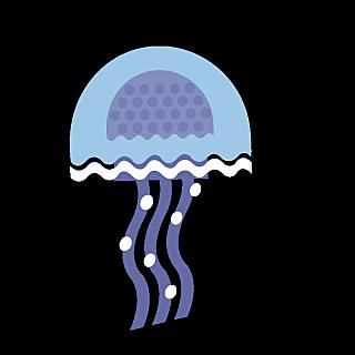 可爱手绘海洋生物及水果类-水母