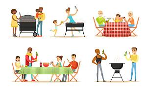 绘画插图,人,矢量,炊具,老年男人,家庭,食品,野餐,瓶子,桌布